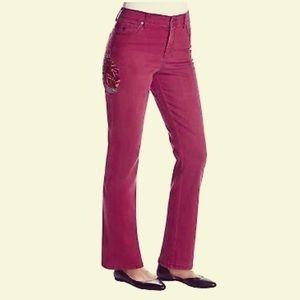Gloria Vanderbilt 10 Amanda Embroidery Jeans Berry